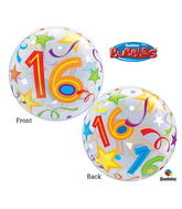 "22"" 16 Brilliant Stars Plastic Bubble Balloons"