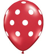 "11"" Big Polka Dots Red (50 ct.)"