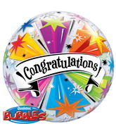"22"" Congratulations Banner Blast Plastic Bubble Balloons"