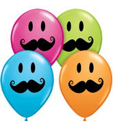 "11"" Smile Face Mustache Assorted (50 ct.)"