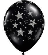 "11"" Glitter Stars & Stars-A-Round Onyx Black 25 Count"