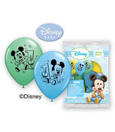 "12"" Mickey 1st Birthday 6 pack Latex Balloons"