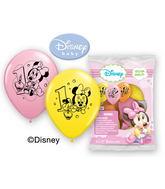 "12"" Minnie 1st Birthday 6 pack Latex Balloons"