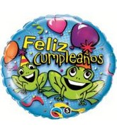 "18"" Feliz Cumpleanos Party Frogs Balloon"