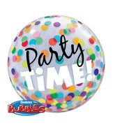 "22"" Party Time! Colorful Dots Plastic Bubble Balloons"