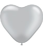 """6"""" Heart Latex Balloons (100 Count) Silver"""