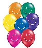 "5"" Smile Face Jewel Assortment White Ink 100 per bag"