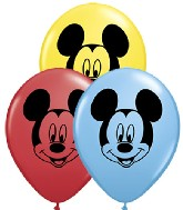 "5"" Mickey Mouse Face Assorted Colors 100 per bag"