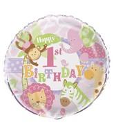 """18"""" Pink 1st Birthday Safari Balloon"""