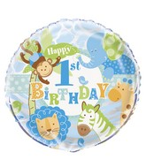 """18"""" Blue 1st Birthday Safari Balloon"""