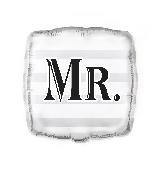 "18"" Square Foil Balloon Bulk - Silver ""Mr."""