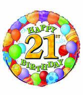 """18"""" 21st Birthday Balloons Packaged"""