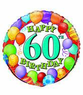 """18"""" 60th Birthday Balloons Packaged"""
