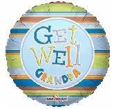 "18"" Get Well Grandpa Stripes Balloon"