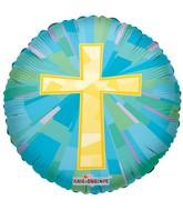 "18"" Gold Cross Mylar Balloon"