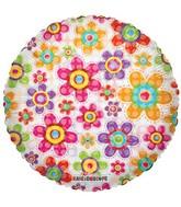 "18"" Decorative Flowers Mylar Balloon"