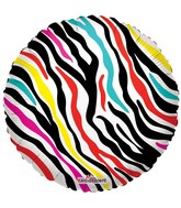 "18"" Decorative Colorful Zebra Print"