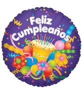 "18"" Cake & Streamers Feliz Cumpleanos"