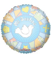 "18"" Mi Bautizo Vitral Azul Spanish Balloon"