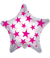 """22"""" Pink Patterned Star Clear Balloon"""