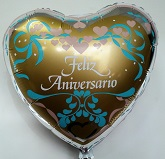 "4"" Airfill Feliz Anniversario (foil Back) Balloon"