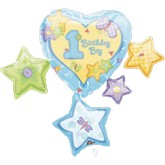 "33"" First Birthday Boy Mylar Balloon"