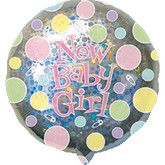 """32"""" Holographic New Baby Girl Dots"""