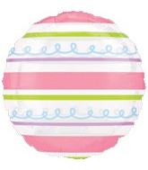 """18"""" Pink and Green Stripes Clear Balloon"""