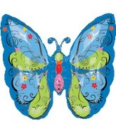 """25"""" Graphic Blue Butterfly Balloon"""