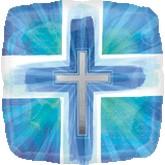 "18"" Joyous Cross Blue Verses Mylar Balloon"