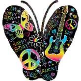 "33"" Birthday Rock Butterfly Balloon"