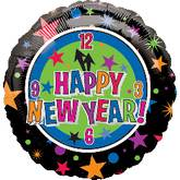"18"" Happy New Year Clock & Stars"