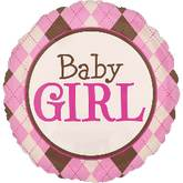 "32"" Argyle Baby Girl Jumbo Balloon"