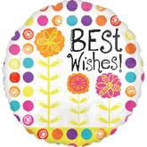 """21"""" Floral Best Wishes Mylar Foil Balloon"""