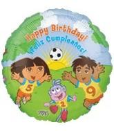 """18"""" Dora & Diego Soccer Happy Birthday"""