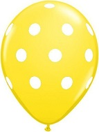 "11"" Polka Dots Latex Balloons 25 Count Yellow White Dots"