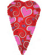 "24"" Skinny Pink Hearts Shape-a-Loon"